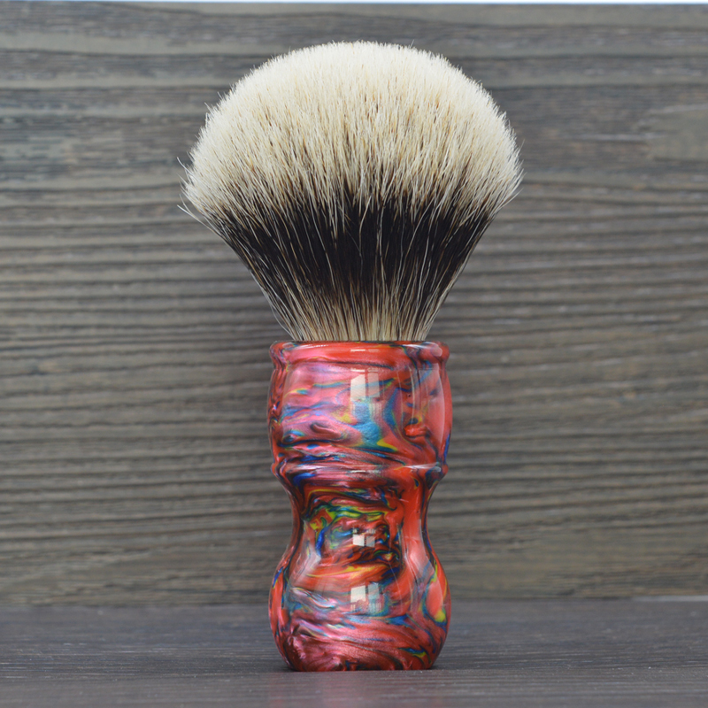 dscosmetic 24mm high quality red resin handle fan shape two band silvertip badger hair knot shaving brush for man