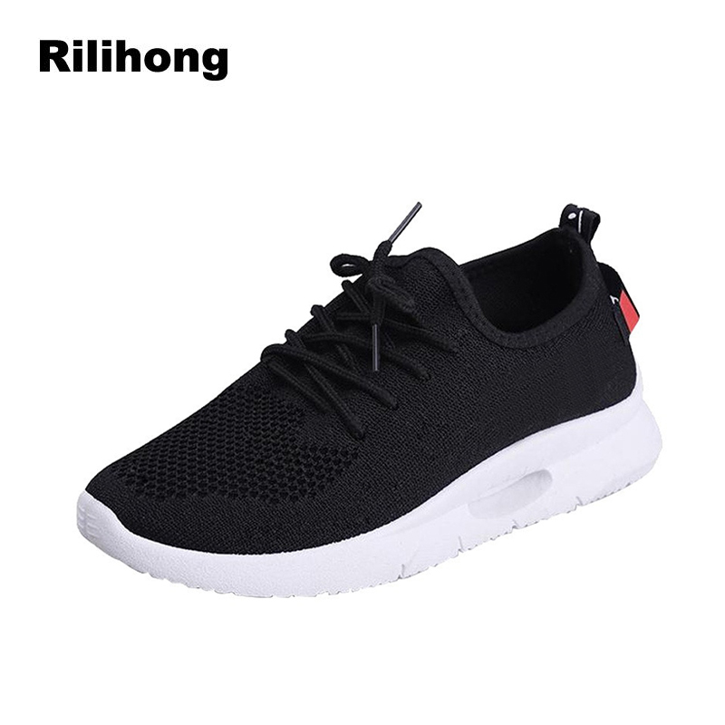 Black Sneakers Women Solid Casual Shoes Woman 2018 Autumn New Female Flats Breathable Mesh Lace Up Round Toe Women Shoes White asumer white spring autumn women shoes round toe ladies genuine leather flats shoes casual sneakers single shoes