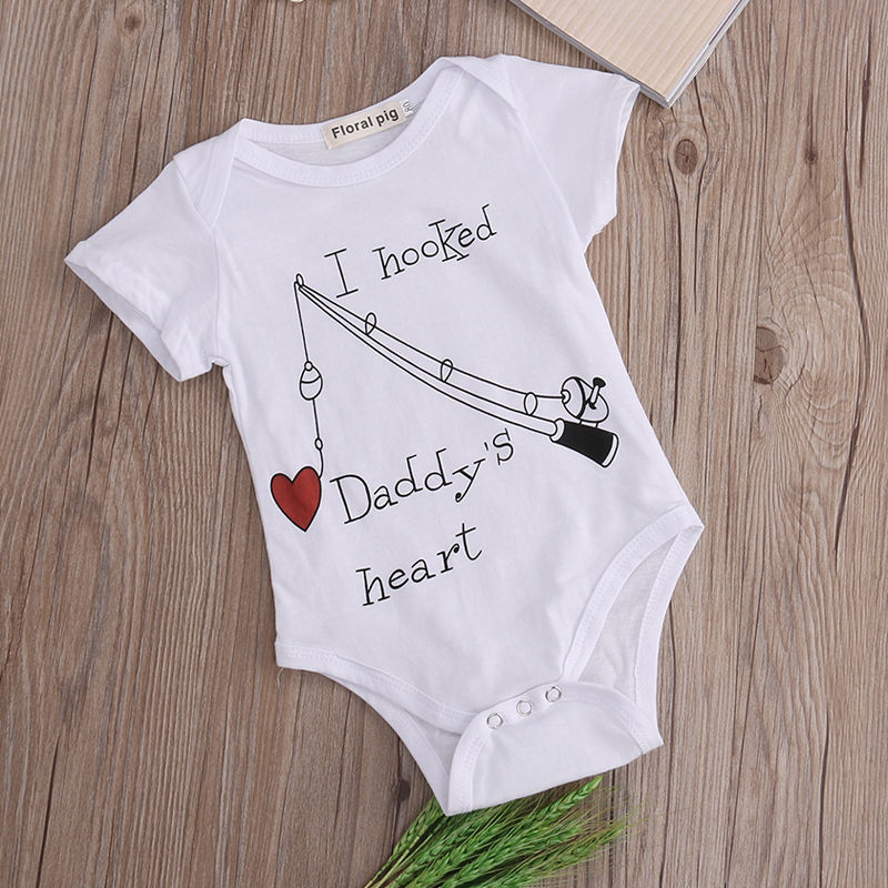 Newborn Baby Boy Girl Clothes Hooked Daddy/'s Heart Babies Grows Play Suit Romper
