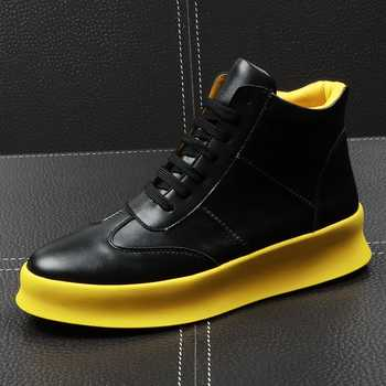 CuddlyIIPanda New Luxury Brand Men Fashion High Top Sneakers Spring Autumn Casual High Shoes Men Leather Boots Microfiber Shoes - DISCOUNT ITEM  49% OFF All Category