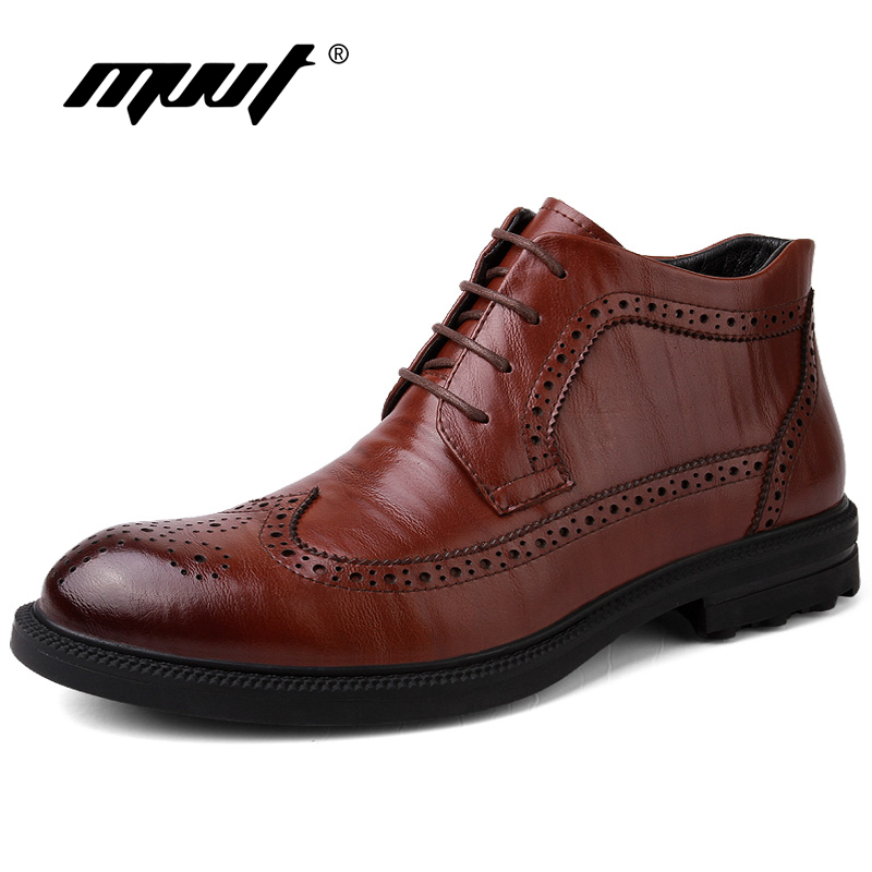 MVVT Genuine Leather Men Boots Oxfords Fashion Winter Shoes Men Snow Boots Leather Business Brogue Boots