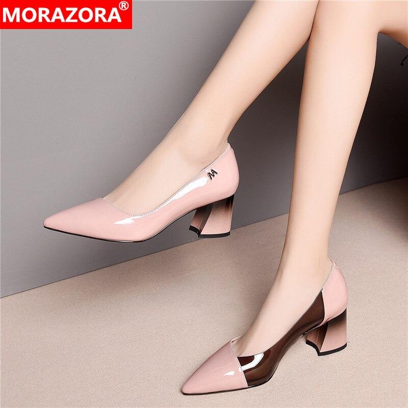 Ayakk.'ten Kadın Pompaları'de MORAZORA 2019 Moda Marka hakiki deri kadın pompaları sivri burun yüksek topuklu yüksek topuklu ayakkabı ofis bayan resmi elbise ayakkabıları pembe'da  Grup 1