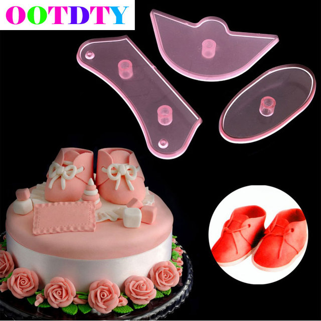 3Pcs/set Baby Shoes Birthday Cake Decorating Mold Cutter Fondant Sugarcraft  DIY Tools APR6_45