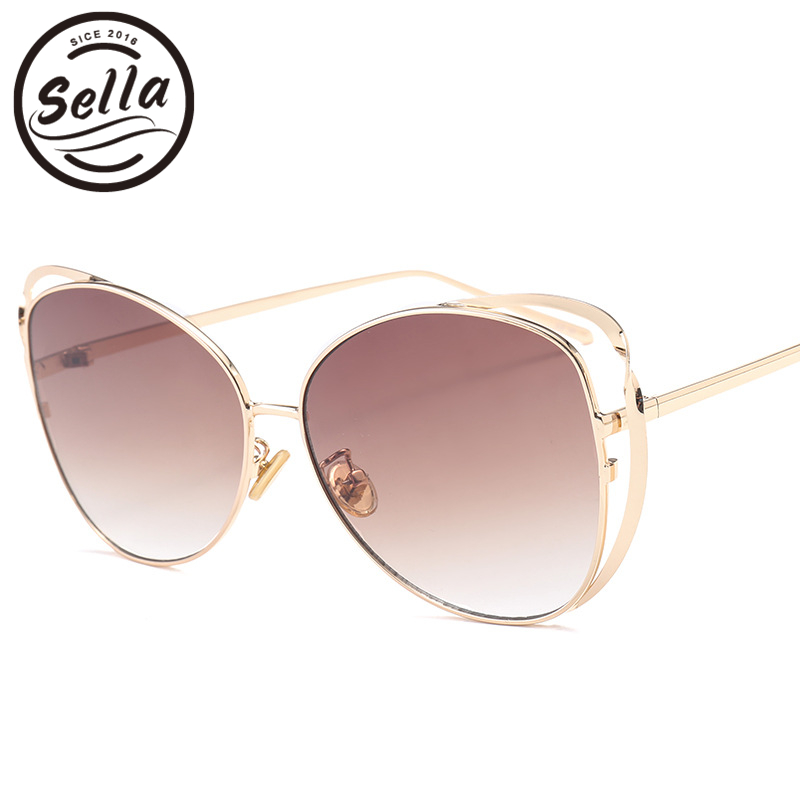 Sella 2018 New Fashion Women Cateye Sunglasses Summer Men Popular Oversized Gradient Lens Mix-Color Sun Glasses UV400