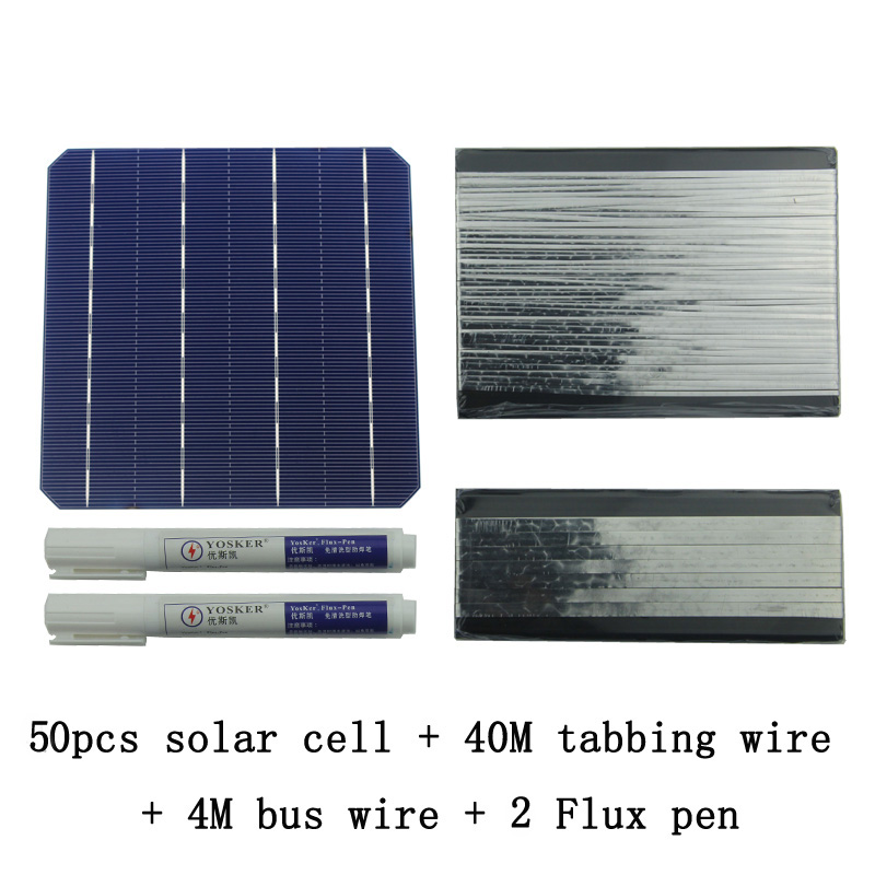 50Pcs Monocrystall Solar Cell 6x6 With 60M Tabbing Wire 6M Busbar Wire and 3Pcs Flux Pen diy solar panel 270w 100pcs monocrystall solar cell 5x5 with 60m tabbing wire 6m busbar wire and 3pcs flux pen