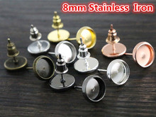 8mm 50pcs/Lot 8 Colors Plated Stainless Iron Earring Studs(with Ear plug) Base,Fit 8mm Glass Cabochons(China)