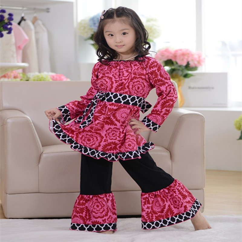 2017 kids christmas clothes girls xmas Outfits girl boutique clothing with ruffle pants long ...