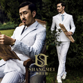 Spring Vintage White Stripe 2-piece Set Personality Groom Suit / Wedding Photography Suit  279