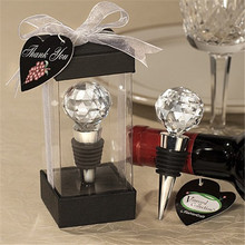 Wine Champagne Stopper Decorative Crystal Ball and Beverage Bottle Reusable Plug with Gift Box for Wedding