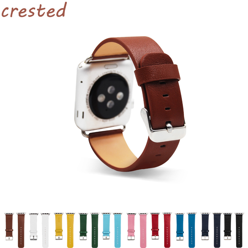 CRESTED Genuine Leather Watch Band  for Apple Watch band 42mm 38mm Wristband Replacement with Adapter for iwatch 1/2/3 crested leather loop band for apple watch 42mm 38mm