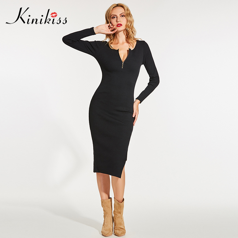 Kinikiss women knitted sweater dress sexy solid black bodycon slim dress fashion mid-calf round neck elegant long sheath dress рюкзак case logic 17 3 prevailer black prev217blk mid