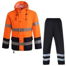 Orange safety rain jacket reflective Polyester Waterproof  rain suit workwear New free shipping
