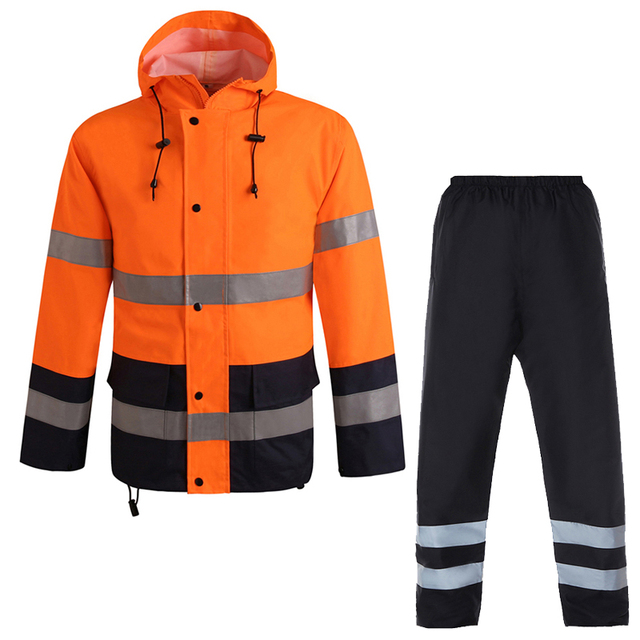 Orange safety rain jacket reflective Polyester Waterproof  rain suit workwear New free shipping