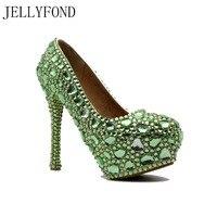 JELLYFOND 2017 Luxury Green Rhinestone Bridal Wedding Party Shoes High Heels Shoes Woman Fashion Pumps Big