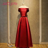 AXJFU luxury princess red satin evening dress vintage party boat neck red bow host evening dress long red evening dress
