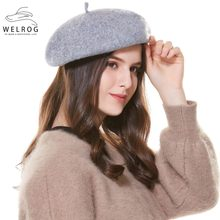 WELROG invierno sombrero boinas 2019 nueva lana Cachemira mujer caliente  casuales de la marca de alta a696f78fa62