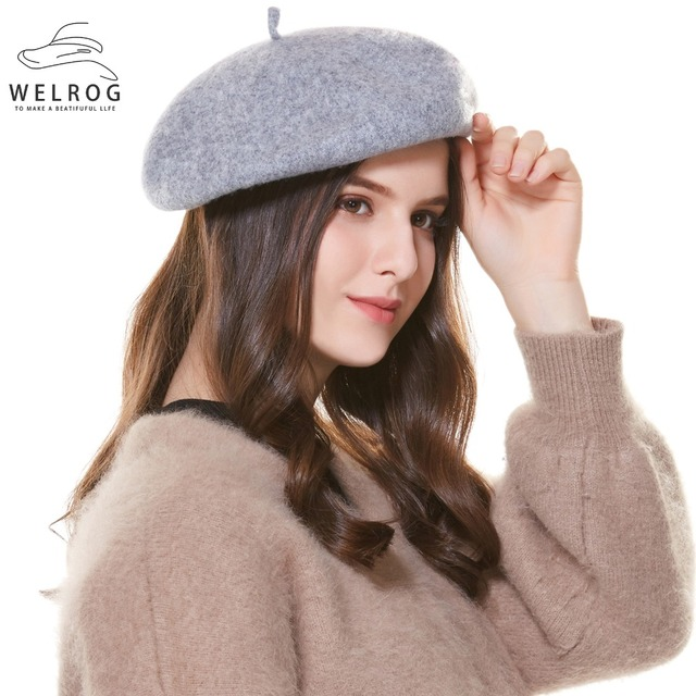 a517373f5b6bc8 WELROG Winter Hat Berets 2019 New Wool Cashmere Womens Warm Brand Casual  High Quality Women's Vogue Knitted Hats For Girls Cap