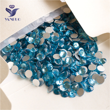 YANRUO 2058NoHF SS16 Aquamarine 1440Pcs Flat Back Non Hot Fix Nail Art Strass Crystal Stick On Rhinestone DIY