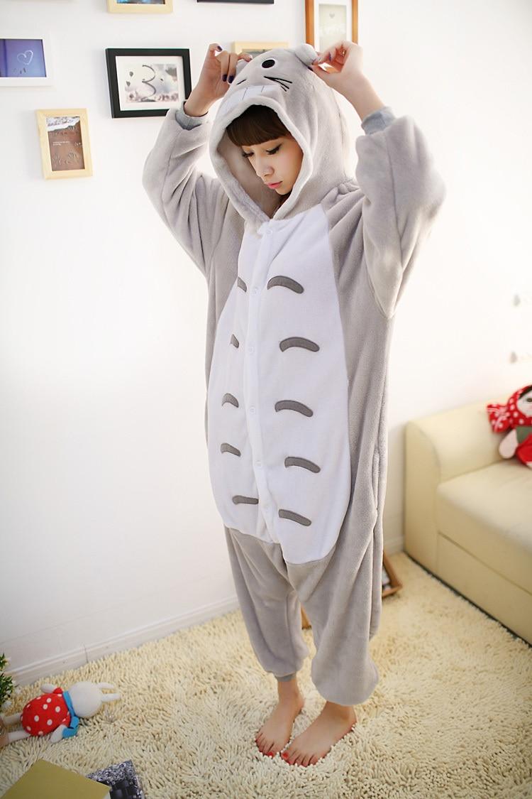 Adult Totoro Onesies Women Men Halloween Cosplay Costume Animal Pajamas Pyjamas Jumpsuit Sleepwear One-piece Furry flannel