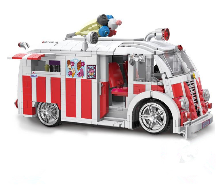New Genuine Technic The Ice Cream Decoration Truck Building Blocks Compatible with Lepin Car Toys Bricks Best Gift For Children new lepin 16009 1151pcs queen anne s revenge pirates of the caribbean building blocks set compatible legoed with 4195 children