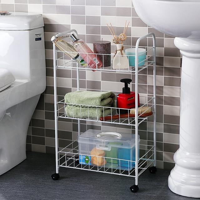 Three layers of metal movable storage rack bathroom toilet racks ...