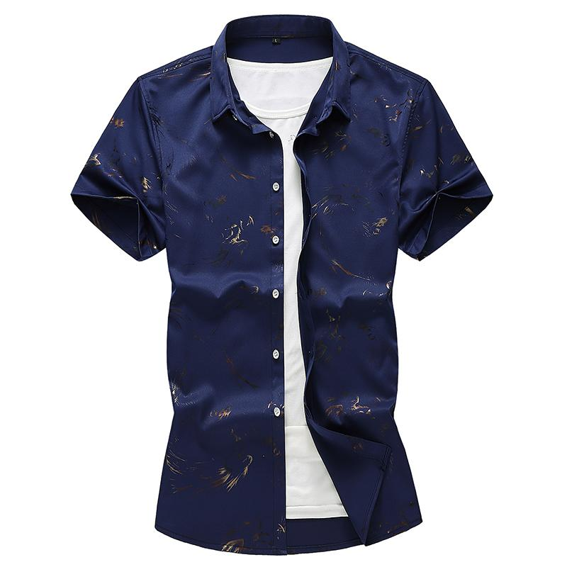 Mens Dress Shirts Bronzing Loose Shirt Male Slim fit Men 39 s Shirt Mens Clothing Blouse Men Summer White Black Navy Blue in Casual Shirts from Men 39 s Clothing