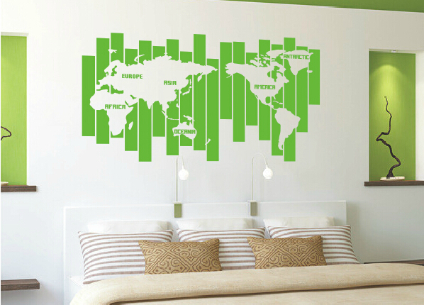 Large cool world map uniqu design vinyl wall decal
