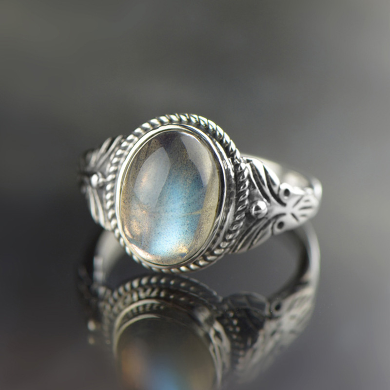 Natural Labradorite Ring Guaranteed 925 Silver Vintage Antique Gifts For Women Gemstone Elegant Fine Jewelry Bijoux