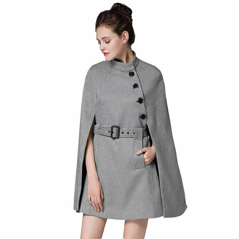 552cc97295 Detail Feedback Questions about Plus size Houndstooth Autumn Winter Wool  Cape Coat Women Fashion Woolen Plaid Female Jacket New Long Coats manteau  femme ...
