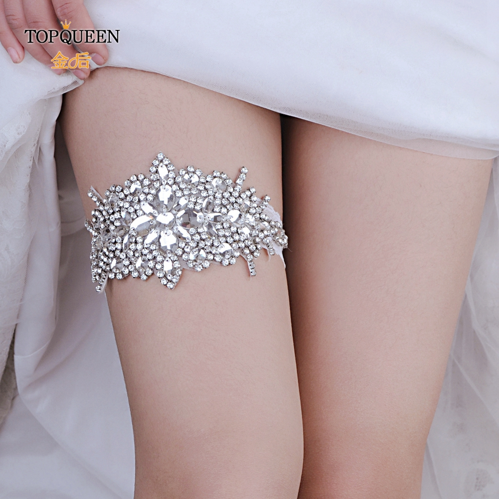 TOPQUEEN  Bridal Garters Garter Belt Fahion Soft Sexy Women Girl Diamond Lace Garter Sexy Girls Garter Lace Garters White THS01