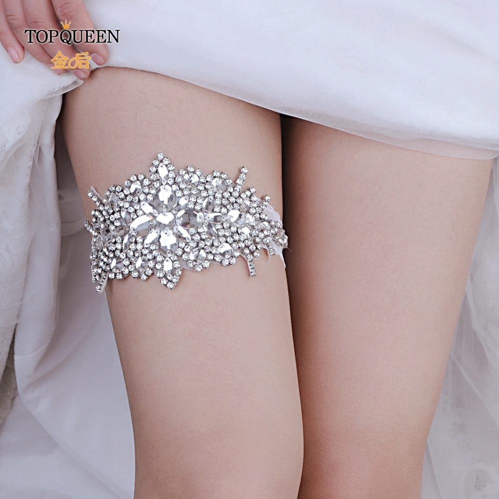 TOPQUEEN  Bridal Garters Garter Belt Fahion Soft Sexy Women Girl Diamond Lace Garter Sexy Girls Garter Lace Garters White THS01