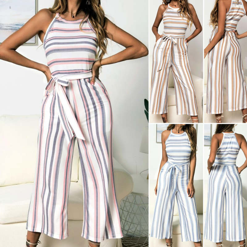 Womens Summer Popular Striped Wide Leg   Jumpsuit   Ladies Casual   Jumpsuit