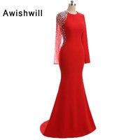 Red Color Long Sleeve Prom Dresses O Neck Beadings Mermaid Evening Party Dress Vestido De Festa
