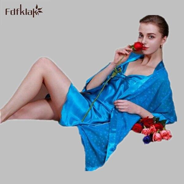 Новый бренд халат мода 2016 осень зима женщины халат sexy v-образным вырезом женская шелковый халат и платья устанавливает pijamas mujer Q951