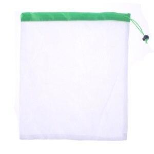 Image 1 - 1 piezas/3 piezas/5 piezas reutilizables productos de malla de bolsas lavable Eco amigable bolsas de almacenamiento de fruta vegetal, bolso de compras bolsa