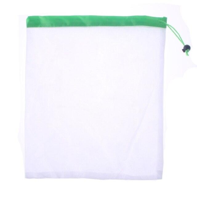 1 piezas/3 piezas/5 piezas reutilizables productos de malla de bolsas lavable Eco amigable bolsas de almacenamiento de fruta vegetal, bolso de compras bolsa