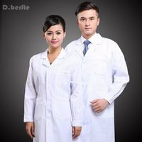 Mens Womens White Lab Coat Scrub Medical Doctor S Jacket Long Sleeve New LTT9062