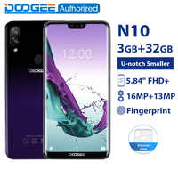 DOOGEE N10 3 ギガバイト 32 ギガバイトの携帯電話アンドロイド 8.1 オクタコア 5.84 ''FHD + 19:9 ディスプレイ 16.0MP フロントカメラ 3360mAh 4 4G LTE スマートフォ