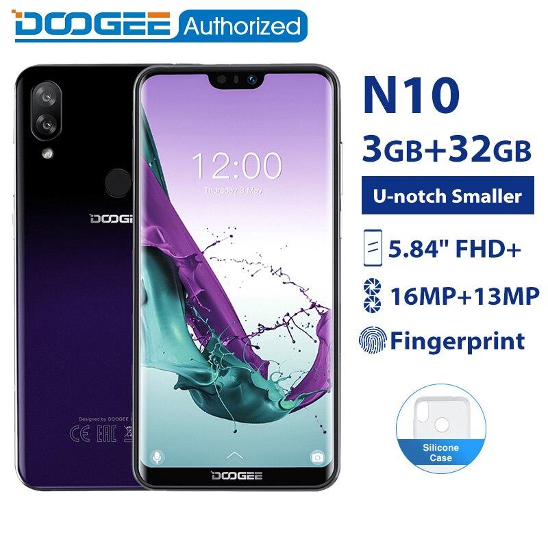 DOOGEE N10 3GB 32GB Telefone móvel Android 8.1 Octa Núcleo 5.84 ''FHD + 19:9 Exibição 16.0MP Frente câmera 3360mAh 4G LTE Smartphones