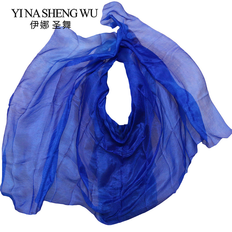 1pc Silk Belly Dance Veil Dance Veil Shawl Scarf Royal Blue Pure Color Belly Dance Practice Performance Silk Veil 250/270*114 Cm
