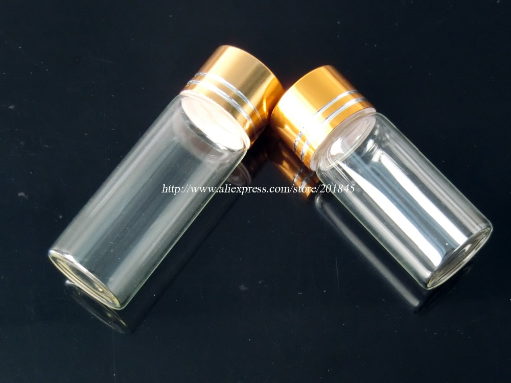 Wholesale 100Pcs Golden Aluminum Screw Cap Glass Bottles Clear Glass Bottles Creative Decorative Vials Diameter 22mm Jars wholesale 200pcs 4ml 22 25mm small glass vials with cork tops bottles little empty jars