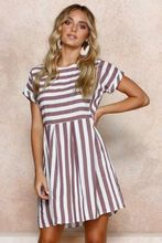 new women dress clothing fashion striped printed ladies female short sleeve mini dresses