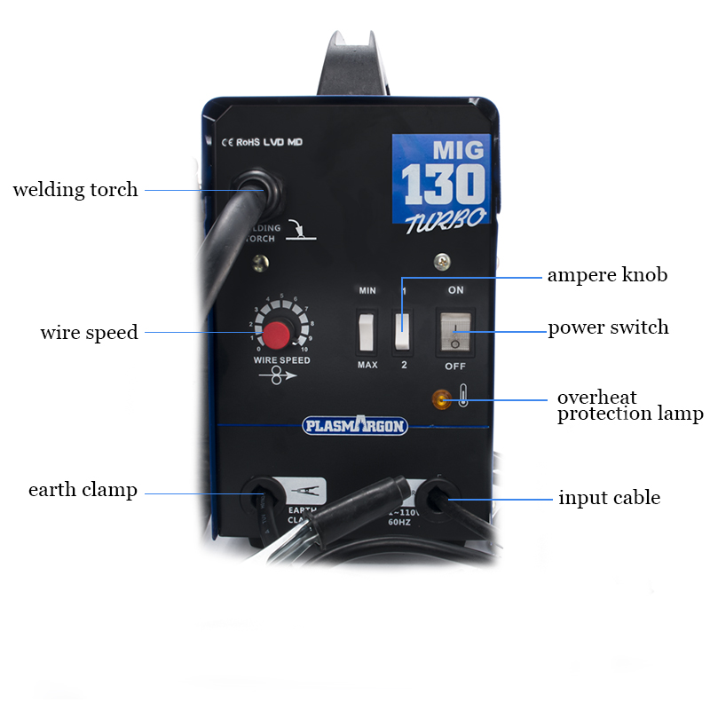 Image 4 - MIG 130 Welder 110V Gas Less MIG Welder Flux Core Wire Automatic Feed Welding MachineMIG Welders   -