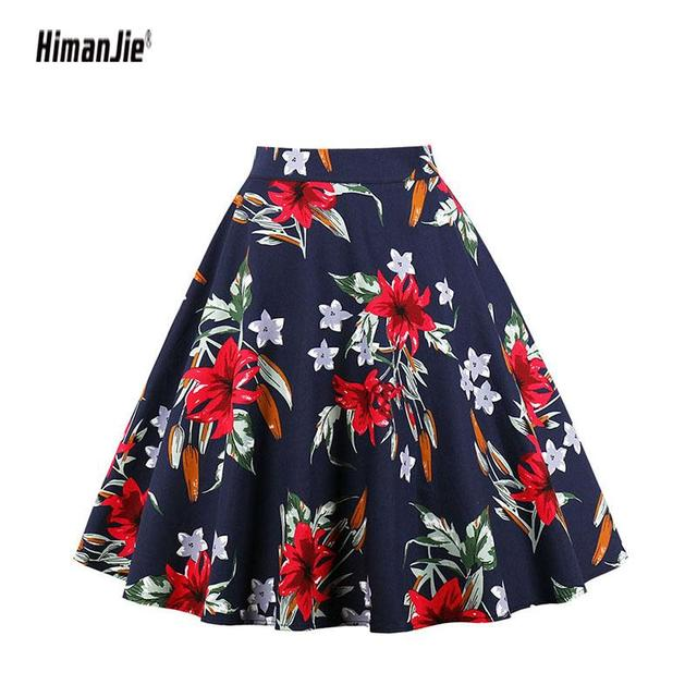 18a99ff5d Floral Vintage Plus Size Swing Skirt Retro Flowers Print Midi Skirts Womens  High Waist Cotton A Line Skirt