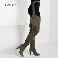 Women Boots Fashion Winter Over Knee Long Boots Heels Faux Suede Leather Quality Comfort Block Heels Slim Tight High Women Boots