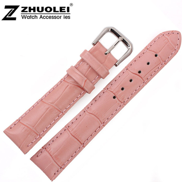 49a356fa23ef 18mm Top Grade Women Pink Alligator Pattern Genuine Leather Watch Bands  Straps Bracelets Silver Deployment Clasp Buckle