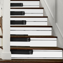 6pcs/set Piano Shaped Wall Stickers Self Adhesive Tiles Floor Stickers Decal Mural Peel And Stick Stair PVC Stickers Home Decor(China)
