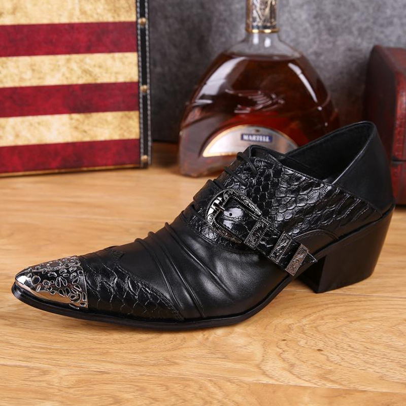 Plus Size Fashion Pointed Toe Man Metal Tipped Oxfords High Heels Genuine Leather Men's Formal Dress Party Banquet Shoes SL270 plus size 2016 new formal brand genuine leather high heels pointed toe oxfords punk rock men s wolf print flats shoes fpt314