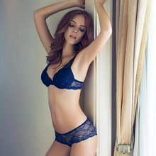 top quality women lingerie fashion thin thick female underwear sexy lace small adjustable push up bra set v sexy bra & panties