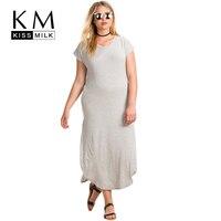 Kissmilk Plus Size New Fashion Women Clothing Casual Solid Streetwear Dress O Neck Short Split Big
